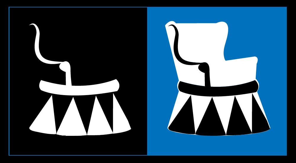 Lusta kék elefánt logóterv fekete-fehérben