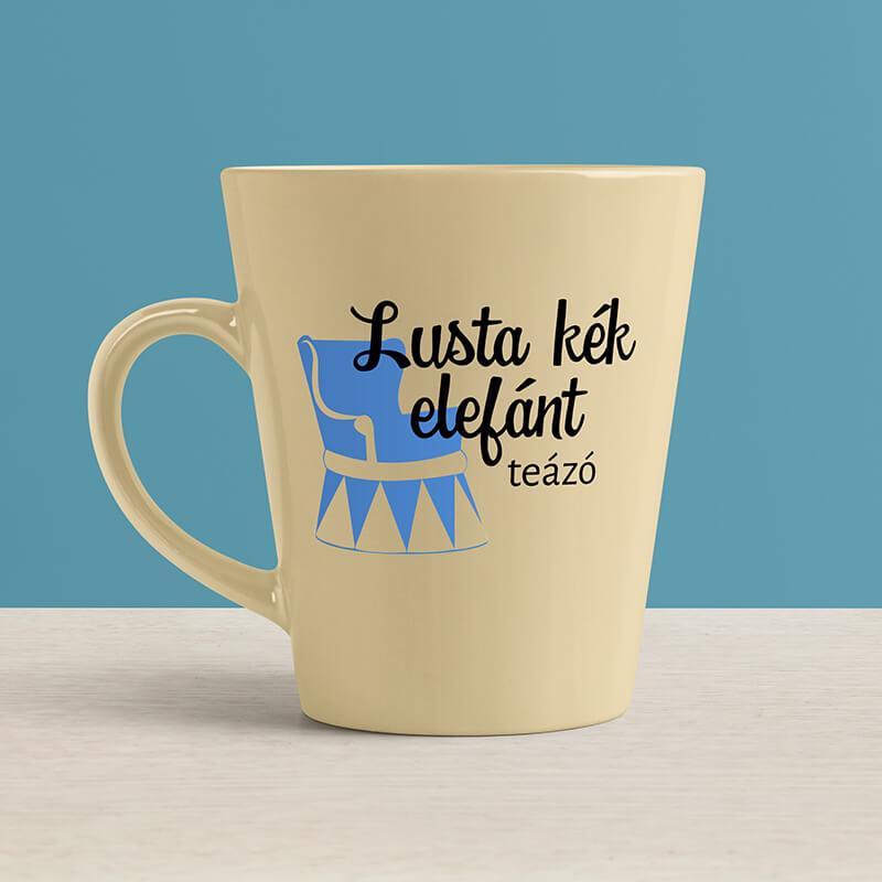 Lusta kék elefánt logós kerámia bögre