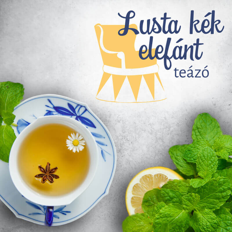 Lusta kék elefánt teázó logó