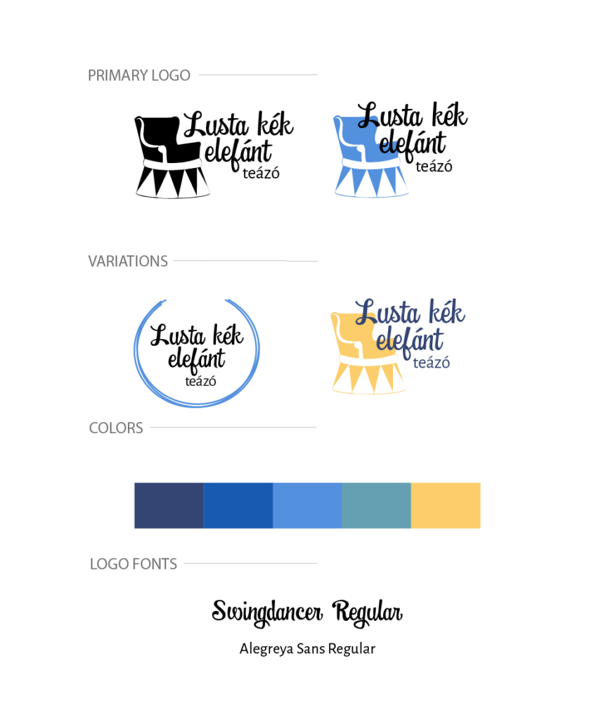 Lusta kék elefánt teázó logóterv
