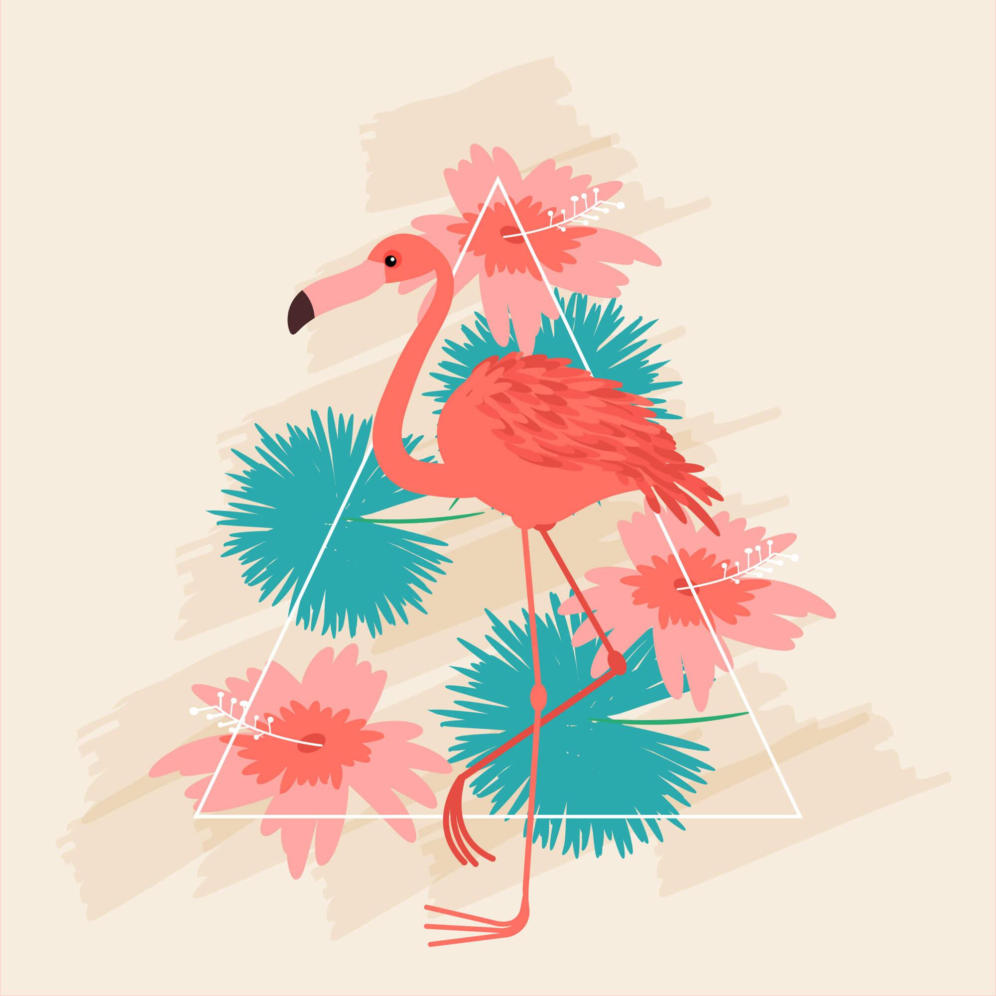 flamingó virágokkal