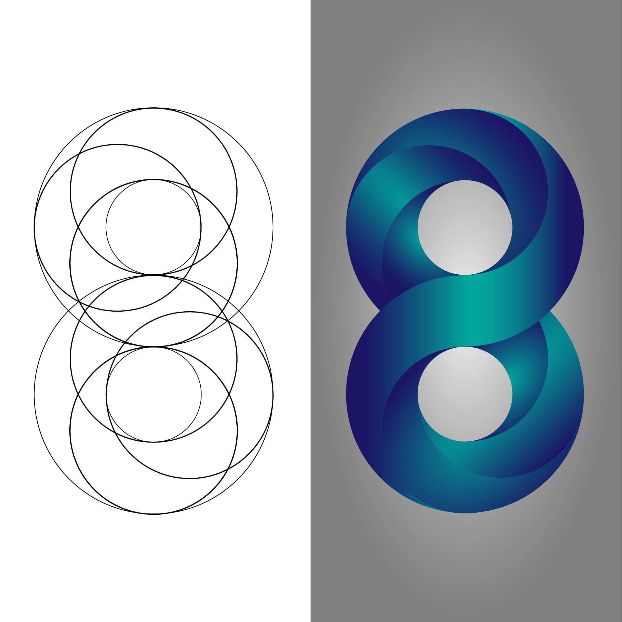 nyolcast formázó, térbelinek ható logó