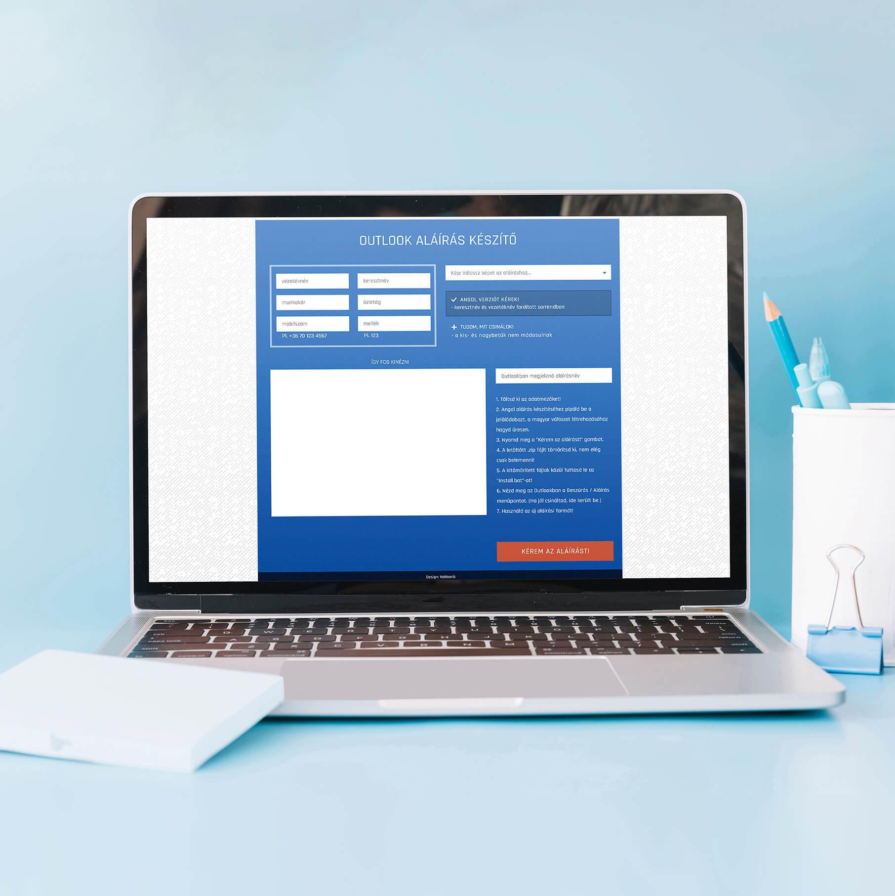 Aláírás generátor oldal UI tervezése