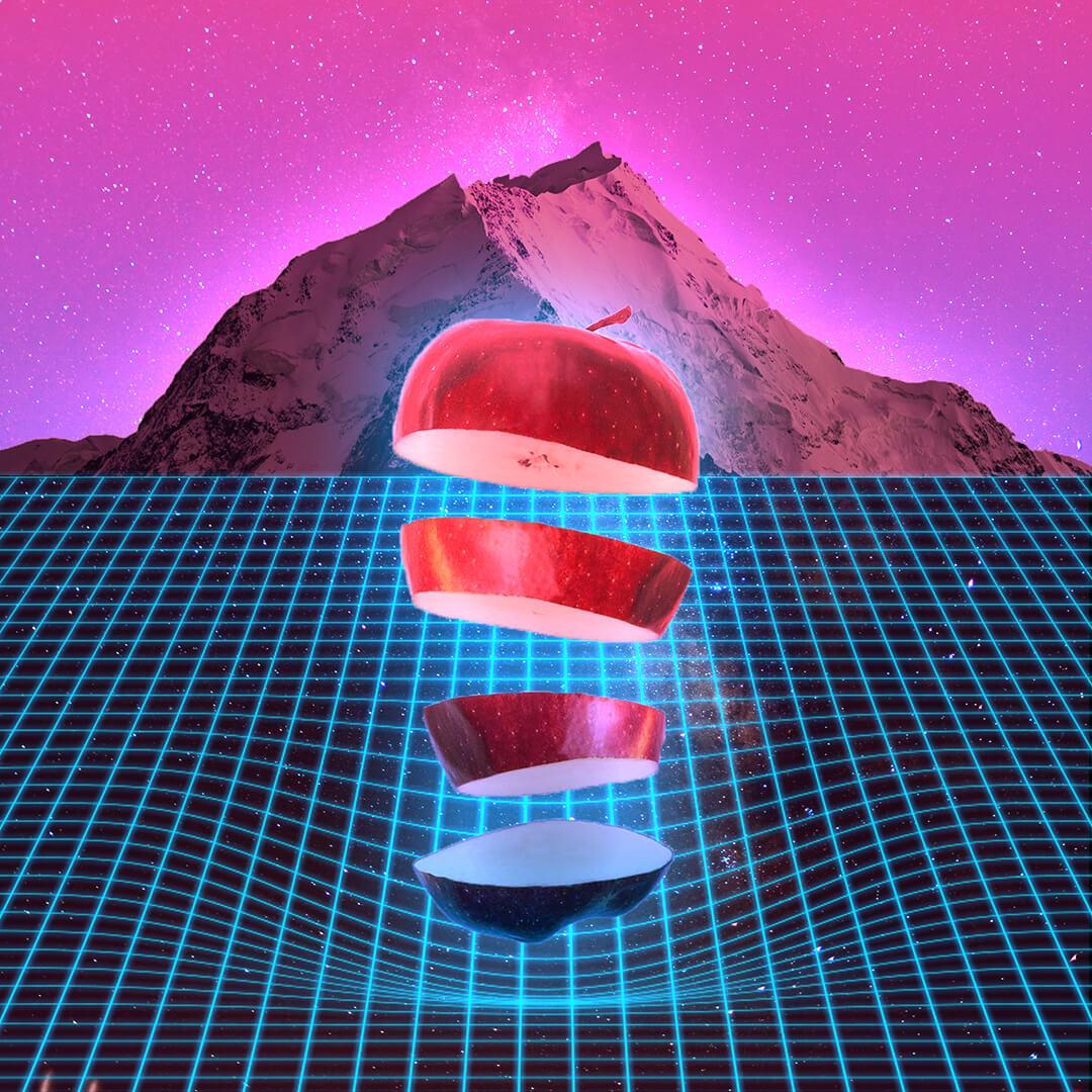 Szürreális űrbéli táj almával