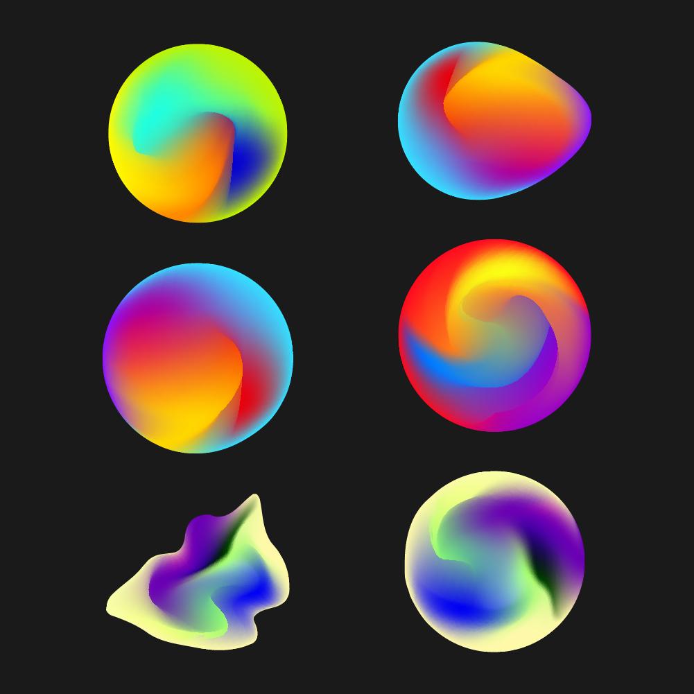 Színes vibráló gömbök