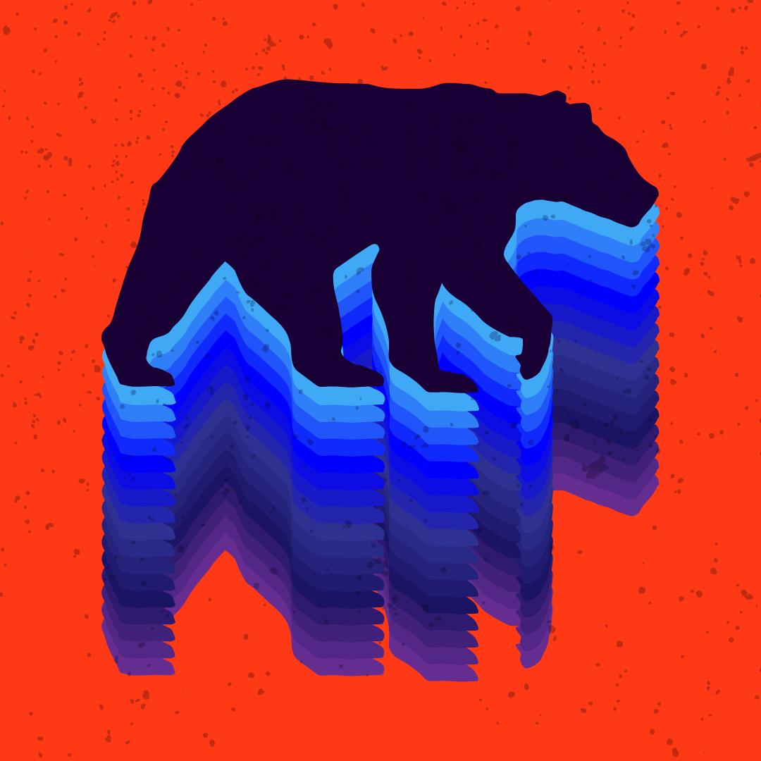 Kék medvesziluett piros háttéren