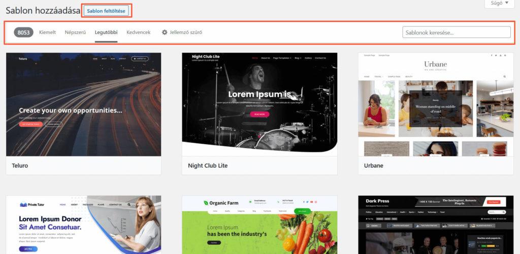 Sablonok hozzáadását mutató képernyőkép a WordPress admin felületén