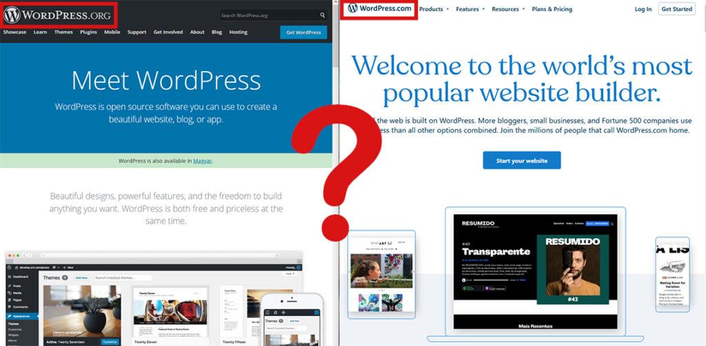 wordpress.org és wordpress.com egymás mellett megnyitva, középen egy kérdőjel