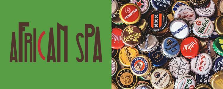 African Spa logója, illetve nagyon sok különböző söröskupak logókkal