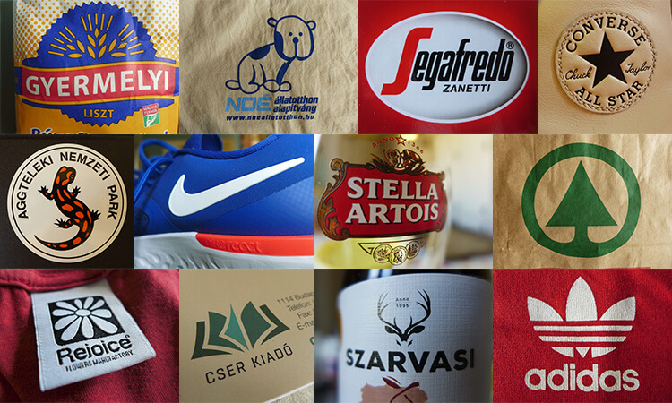 12 logó különböző tárgyakon