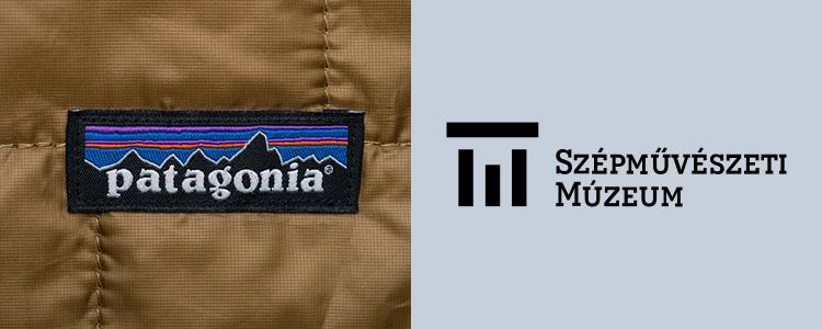 Patagónia címke egy ruhán és a Szépművészeti Múzeum logója