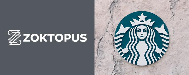 Zoktopus logója, illetve a Starbucks logója egy falon