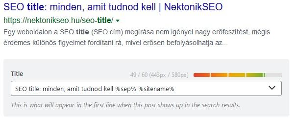 seo title hosszának jelzése SEO pluginben
